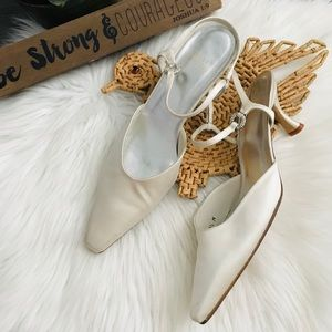 Stuart Weitzman White Satin Pointed Toe Heels 9.5M